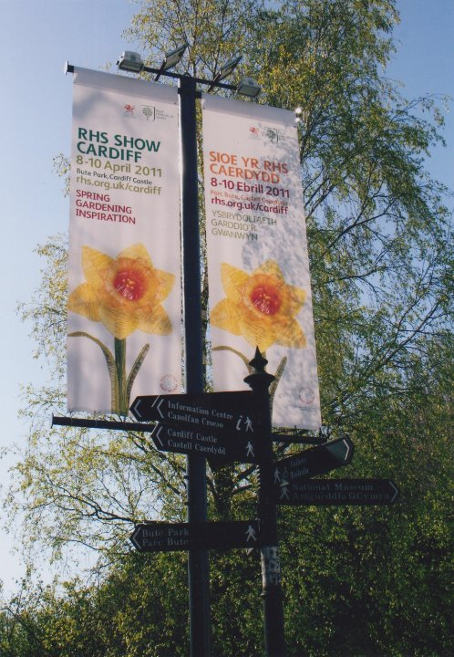 RHS Show Cardiff road banners showing Welsh sculptor, Purple Sue's giant daffodil 13 foot willow sculpture