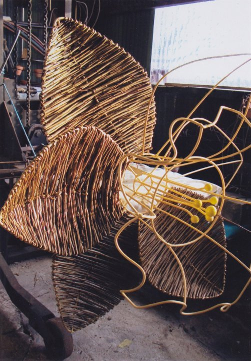 Work in progress - Metal & willow sculpture of a giant 13 foot daffodil by Welsh sculptor Purple Sue for RHS Cardiff Flower Show