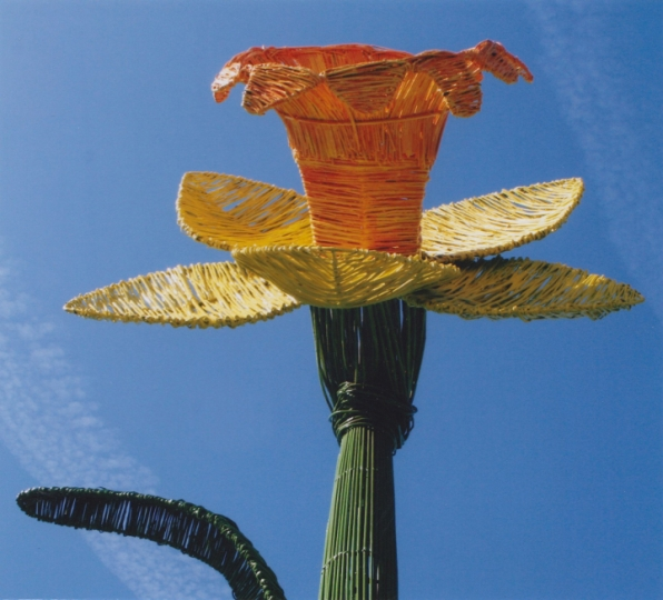 Metal & willow sculpture of a giant 13 foot daffodil by Welsh sculptor Purple Sue for RHS Cardiff Flower Show