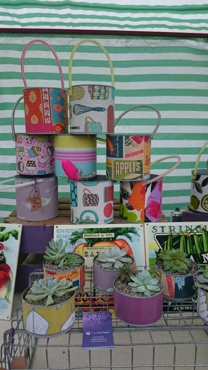 Recycled tins and upcycled products by Purple Sue