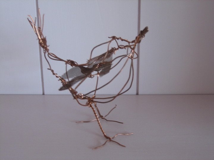 Wren metal sculpture by Purple Sue