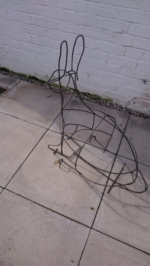 Metal work for willow sculpture of rabbit by Purple Sue